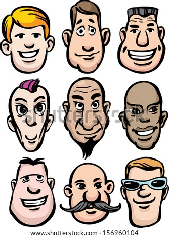 Vector illustration of cartoon men faces. Easy-edit layered vector EPS10 file scalable to any size without quality loss. High resolution raster JPG file is included. - stock vector