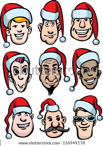 Vector illustration of cartoon men faces in santa hats. Easy-edit layered vector EPS10 file scalable to any size without quality loss. High resolution raster JPG file is included. - stock vector