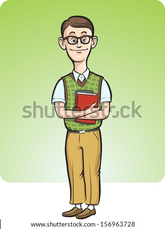 Vector illustration of cartoon nerd man smiling. Easy-edit layered vector EPS10 file scalable to any size without quality loss. High resolution raster JPG file is included. - stock vector