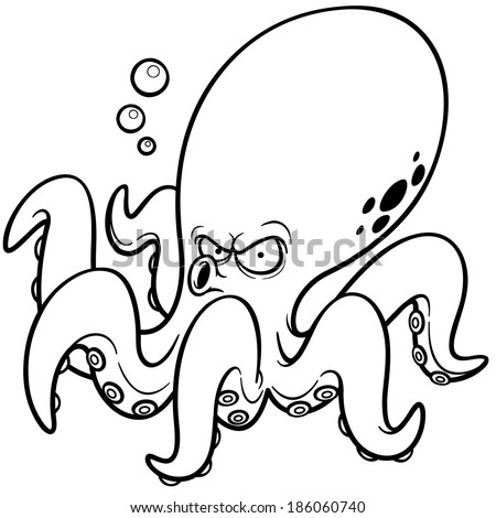 Vector illustration of Cartoon octopus - Coloring book - stock vector