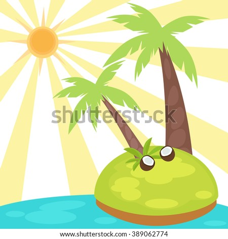 Vector illustration of cartoon palm trees on a small island.