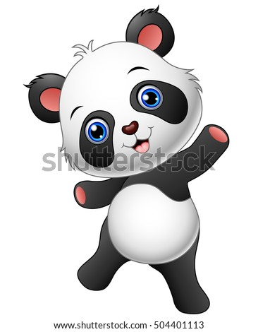 Panda cartoon stock images royalty free images vectors vector illustration of cartoon panda presenting voltagebd Images