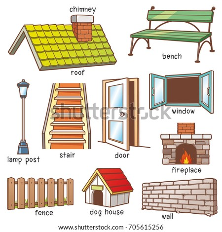 Vector Illustration Cartoon Parts House Vocabulary Stock