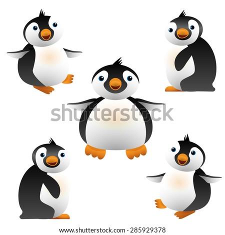Vector illustration of cartoon penguin. Cute baby penguins black and white, orange beak. Design element. For web and apps. Isolated on white background - stock vector