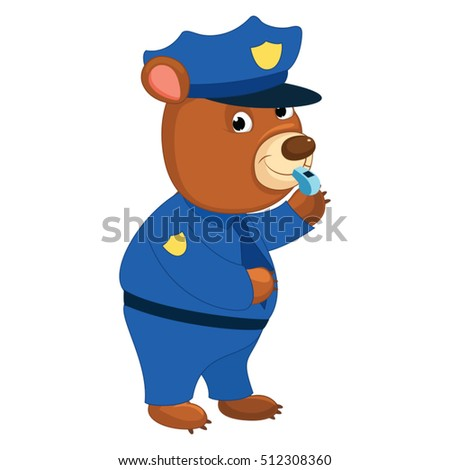 Vector Illustration of Cartoon Policeman Bear