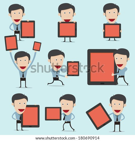 Vector illustration of cartoon present information on mobile device  - stock vector