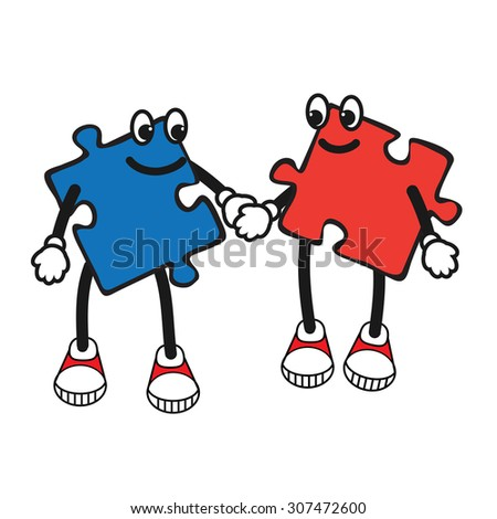 Vector Illustration of Cartoon puzzle character. Pop art comic character of jigsaw. puzzle character boy and girl keep hand in hand. Comics caricature of kids character - stock vector