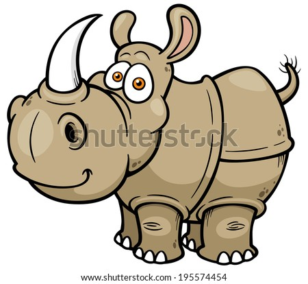 Vector illustration of Cartoon rhino  - stock vector