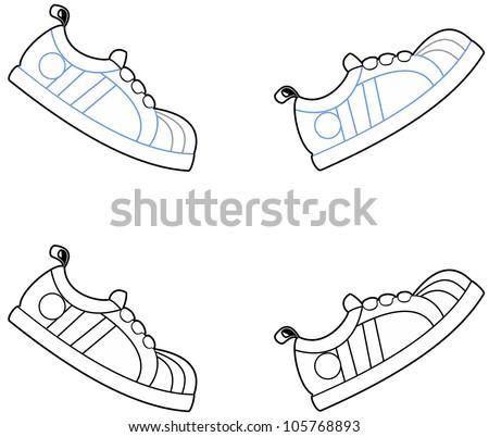 vector illustration cartoon running shoes walking stock vector rh shutterstock com cartoon running shoes images cartoon running shoes clipart