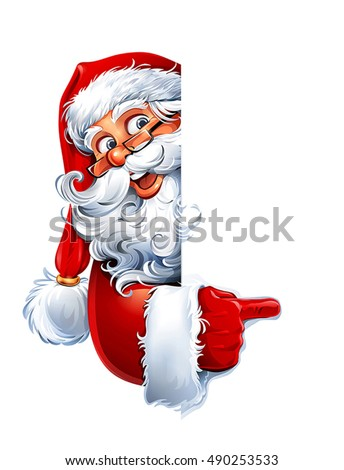 vector illustration of cartoon santa claus character showing a blank sign you can easily adjust