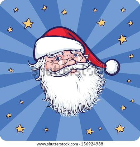 Vector illustration of Cartoon Santa Claus portrait. Easy-edit layered vector EPS10 file scalable to any size without quality loss. High resolution raster JPG file is included.  - stock vector