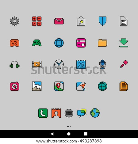 Vector Illustration of Cartoon Smartphone Apps and User Interface Icons