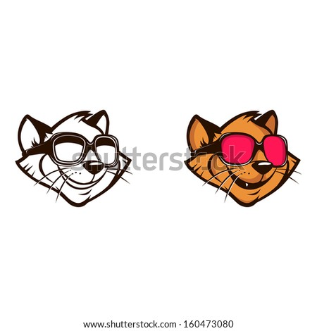 vector illustration of cartoon smiling cat with the sunglasses - stock vector