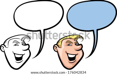 Vector illustration of cartoon smiling retro style man face. - stock vector