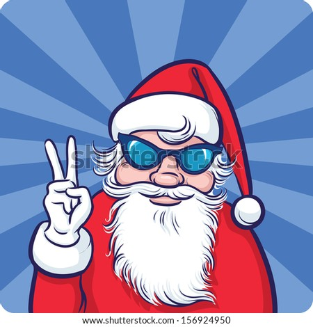 Vector illustration of Cartoon smiling Santa Claus in sunglasses. Easy-edit layered vector EPS10 file scalable to any size without quality loss. High resolution raster JPG file is included.  - stock vector