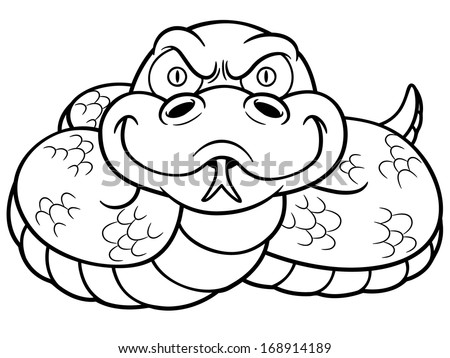 Vector Illustration Cartoon Snake Coloring Book Stock