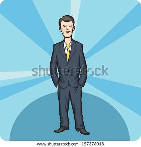 Vector illustration of cartoon standing businessman. Easy-edit layered vector EPS10 file scalable to any size without quality loss. High resolution raster JPG file is included. - stock vector