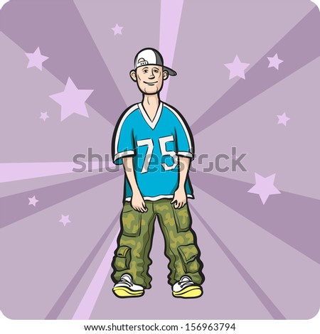 Vector illustration of Cartoon standing hip-hop style young man. Easy-edit layered vector EPS10 file scalable to any size without quality loss. High resolution raster JPG file is included. - stock vector