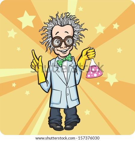 Vector illustration of Cartoon standing mad scientist. Easy-edit layered vector EPS10 file scalable to any size without quality loss. High resolution raster JPG file is included. - stock vector