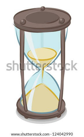 Vector illustration of cartoon style hourglass - stock vector