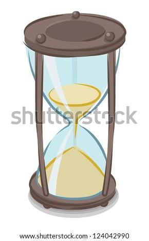 Vector illustration of cartoon style hourglass - stock vector