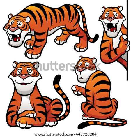 Vector illustration of Cartoon Tiger Character Set