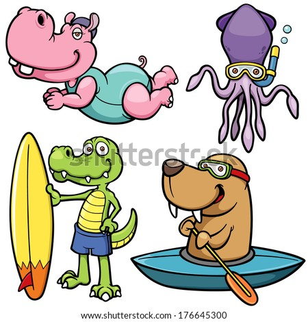 Vector illustration of Cartoon Water sport animal character - stock vector
