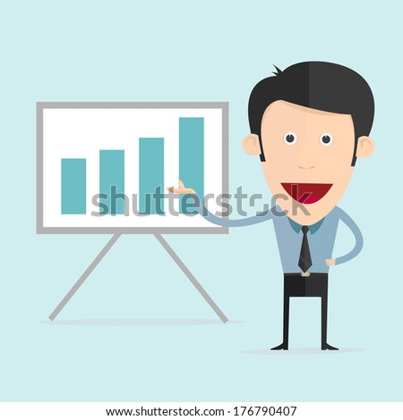 Vector illustration of cartoon with bar graph in flat design