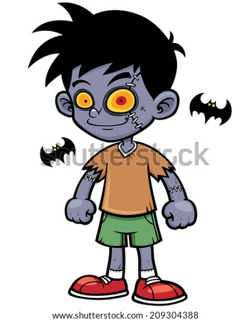 Vector illustration of Cartoon zombie boy - stock vector