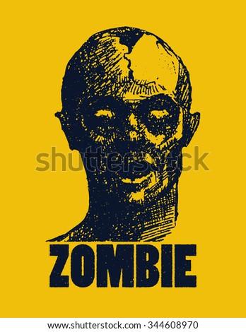 Vector illustration of Cartoon zombie. Hand drawn. - stock vector