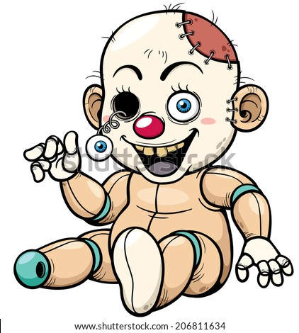 Vector illustration of Cartoon Zombie Toy - stock vector