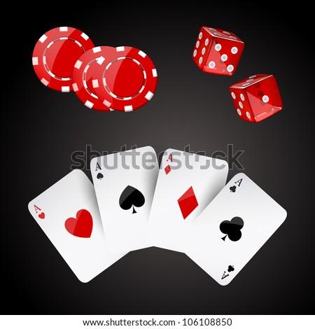 Vector illustration of casino elements - stock vector