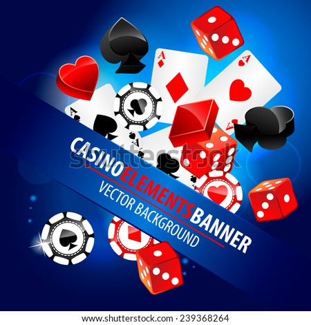 Vector illustration of casino elements - stock vector