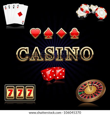vector illustration of casino related object against black background - stock vector