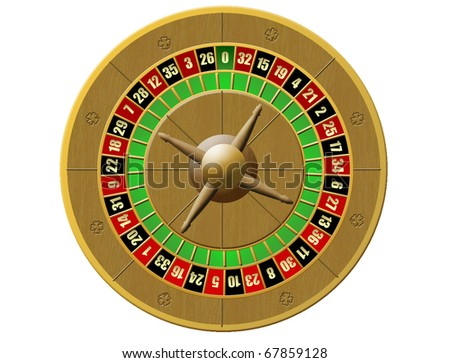 Vector illustration of Casino Roulette on white background