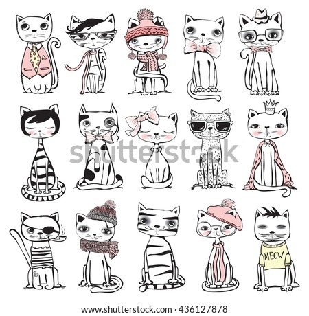 Vector illustration of cat set for greeting card design, t-shirt print, inspiration poster.