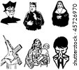 vector illustration of catholic silhouettes - stock vector