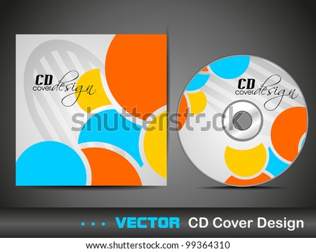 Vector illustration of CD cover design template with copy space in colorful abstract design. EPS 10, easy to edit.