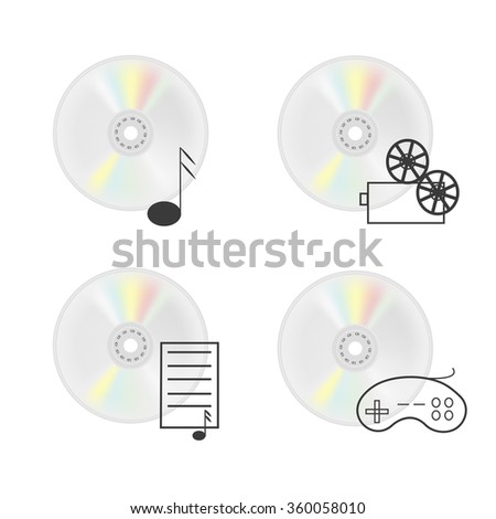 Vector illustration of CD disk. Compact disc isolated on a white background. CD with music, compact disc with movies, CD-ROM with the documents, CD-ROM with  games. Vector icons for site - stock vector