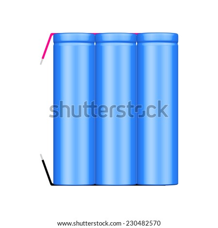 Vector illustration of 3 cell li-ion battery pack with tabs isolated - stock vector
