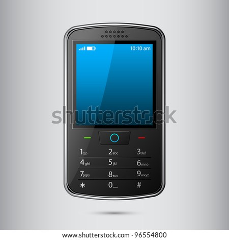 vector illustration of cellphone against abstract background - stock vector