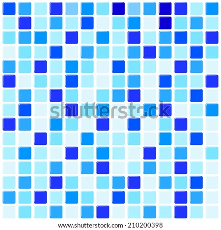 Vector illustration of ceramic mosaic background in swimming pool or kitchen - stock vector