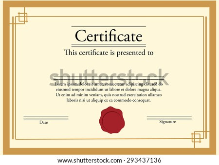 Vector illustration certificate template red stamp stock vector vector illustration of certificate template with red stamp and golden frame certificate border modern yadclub Images