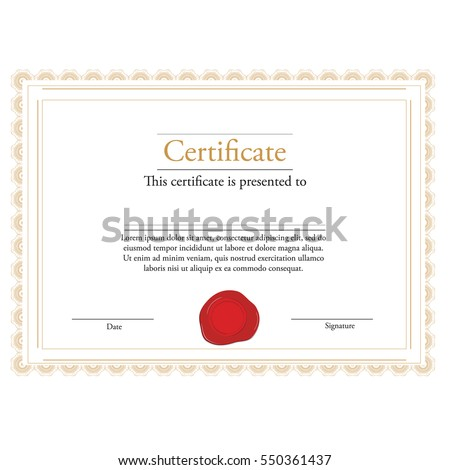 Vector Illustration Of Certificate Template With Red Wax Stamp And Golden  Frame. Certificate Border.  Certificate Borders Templates