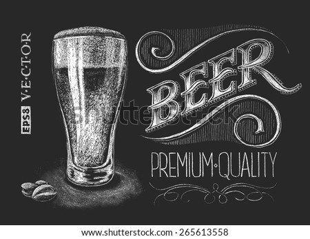 Vector illustration of chalk beer glass on blackboard.  - stock vector