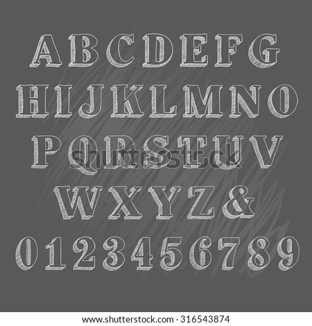 Vector illustration of chalk sketched doodle font characters on a blackboard background - stock vector