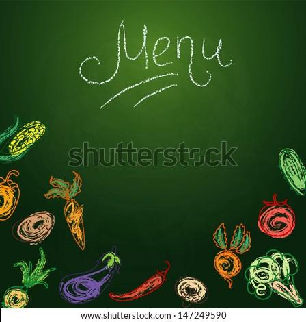 Vector illustration of Chalkboard with vegetables for restaurant menu - stock vector