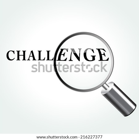 Vector illustration of challenge abstract concept with magnifying