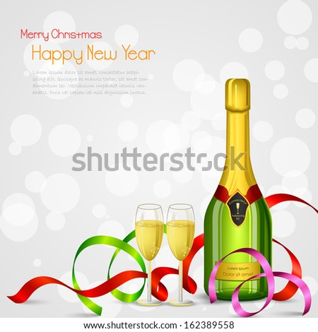 vector illustration of champagne bottle and glass with ribbon - stock vector