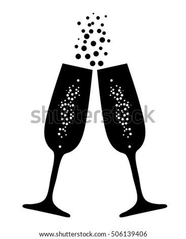 vector illustration champagne glasses bubbles stock vector